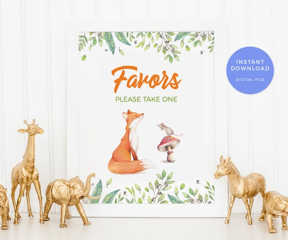 Fox Birthday Sign Woodland Party Sign Fox Party Favors Sign Printable Woodland Decorations Woodland Party Decorations Fox Decorations
