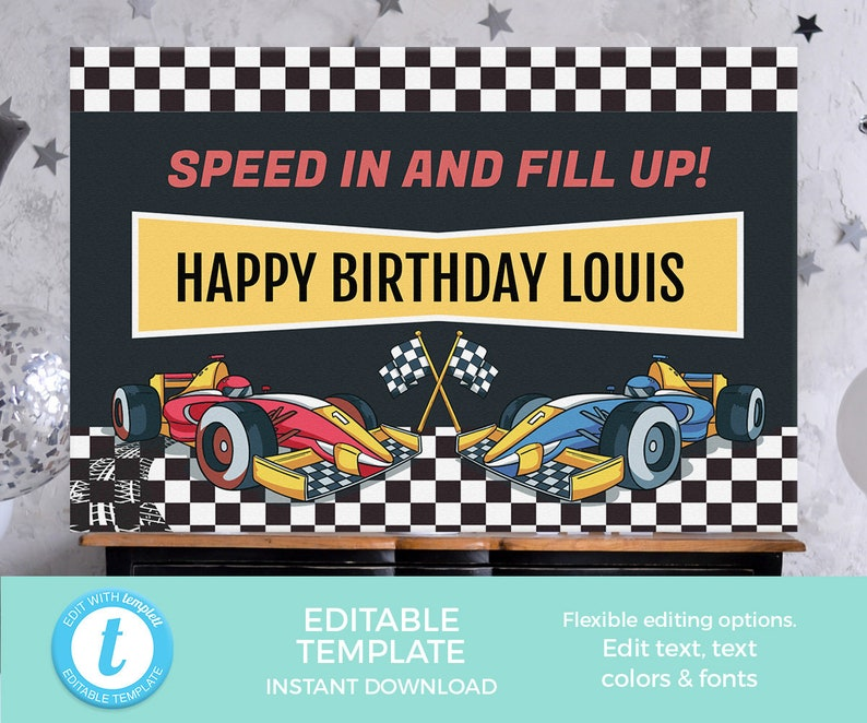 Racing Cars party backdrop Editable template, Racing party decoration  PRINTABLE, cars banner, Boy birthday posters, Cars party banners speed