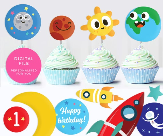 space cupcake toppers printable space labels personalised etsy
