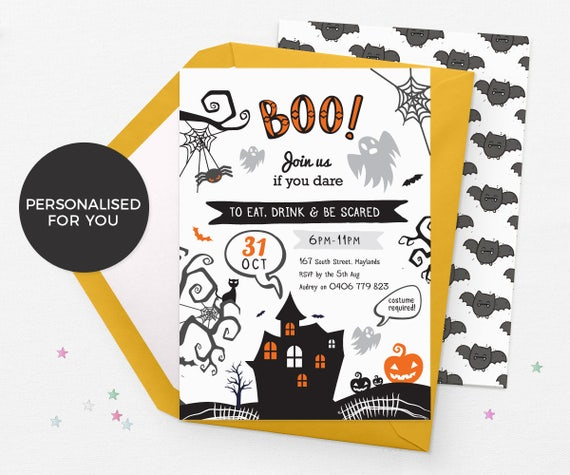 image regarding Printable Halloween Party Invitations identify Halloween social gathering invites little ones, Halloween invites printable, Halloween birthday invites Electronic halloween invitations Customized halloween