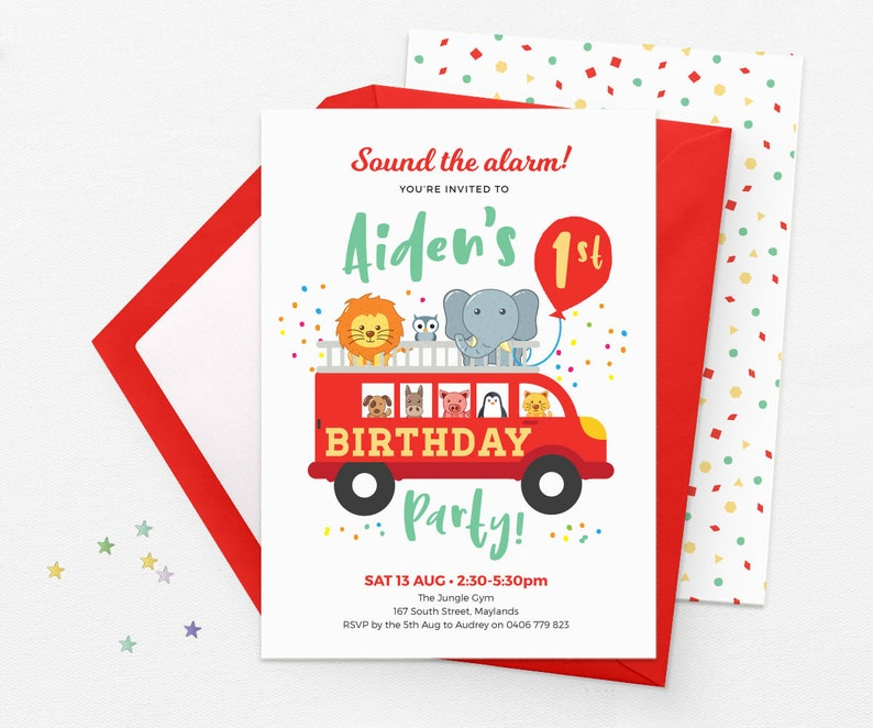 picture about Printable Birthday Invitations for Boy called Fireplace truck Invites, 1st birthday invites boy Printable birthday invites, Little ones social gathering invites, Zoo Animal birthday invites