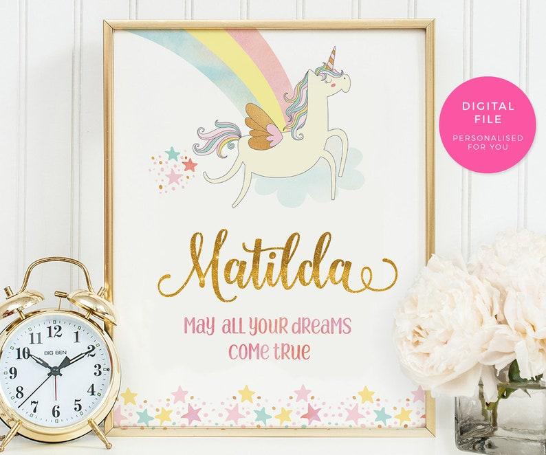 Printable nursery art, Unicorn art print, Kids room art, Personalised  Nursery wall art, unicorn name print, nursery decor, baby shower gift