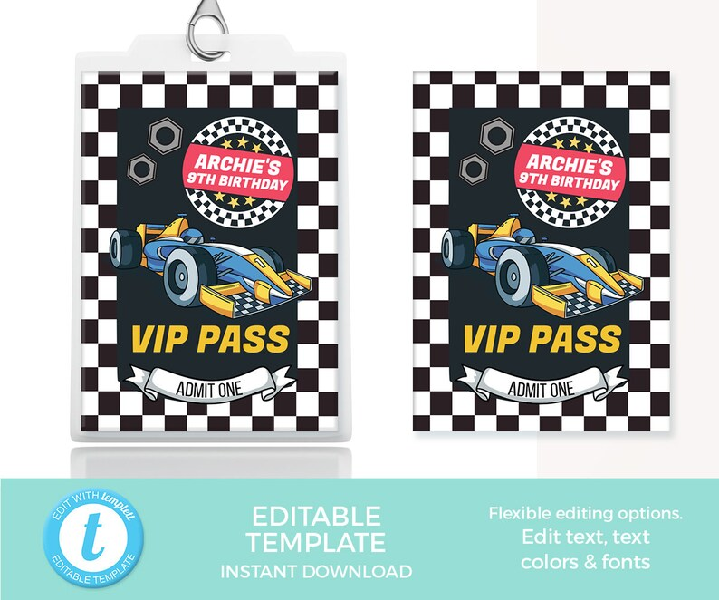 Racing Car VIP Passes EDITABLE Template, Car tags Printable, Racing VIP  tag, car party favor tags, favour labels racing tag birthday