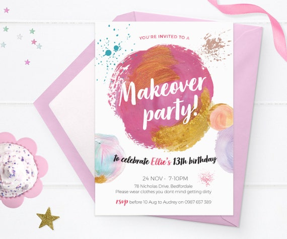 Makeover Party Invitations Printable Spa Party Teen Birthday Etsy
