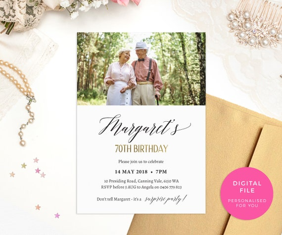 70th Birthday Invites PRINTABLE Invitations