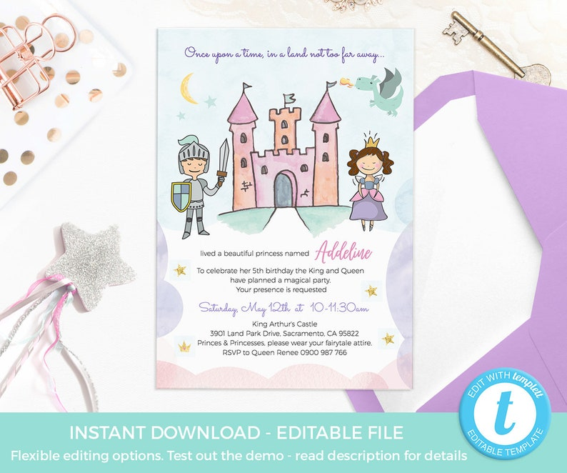 Princess Invitations EDITABLE Prince Party Digital Kids Birthday Template Fairytale Knight