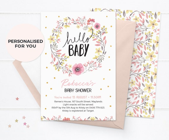 Floral baby shower invitations girl baby shower invitations etsy image 0 filmwisefo
