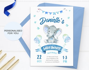 Baby shower invitations Elephant, Printable Boy baby sprinkle invitations, Girl baby shower invites Gender neutral Jungle Baby shower safari