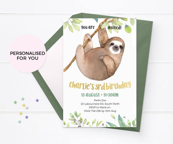 Sloth Invitation Printable Zoo Invitation Tropical Party Etsy