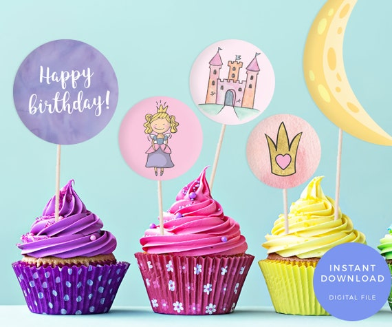 printable favour bag labels printable cake toppers princess etsy