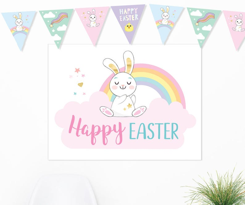picture relating to Happy Easter Sign Printable identify Delighted Easter Poster Printable, Substantial Easter indication, Easter backdrop, Electronic Sleepy Bunny poster, Easter decorations celebration indicator, Lovely rabbit