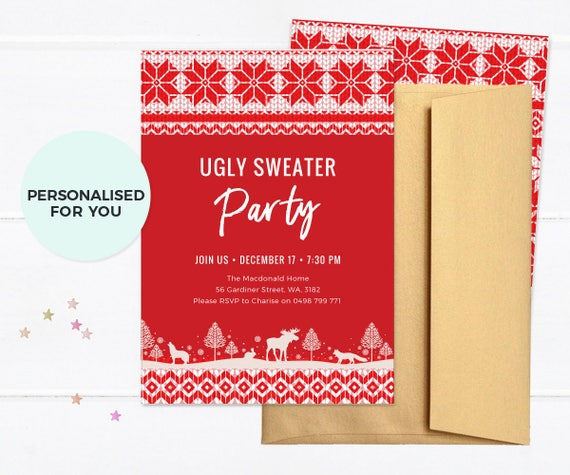 Ugly Sweater Party Invite Printable Ugly Sweater Party Etsy