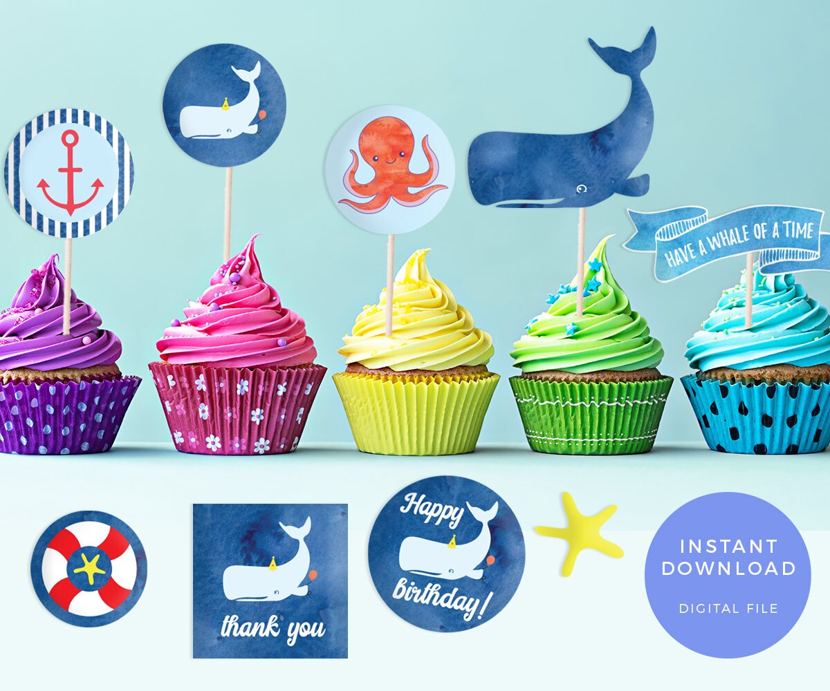 Pool Party Cupcake Toppers Printable Pool Party Labels