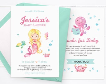 Mermaid baby shower invitations, Girl baby shower invitations, Girl baby shower invites Printable baby shower invitations, custom invitation