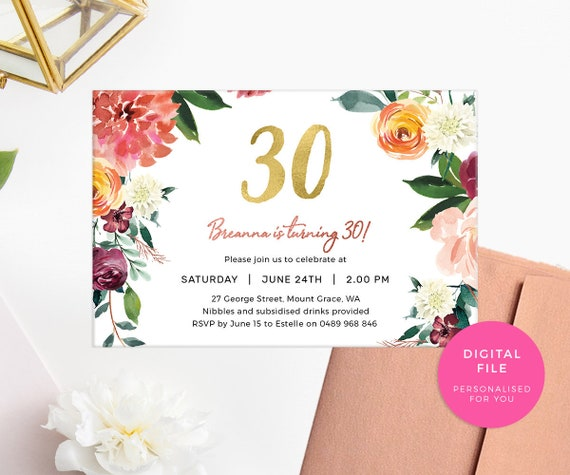 30th birthday invitation female printable 30th birthday etsy