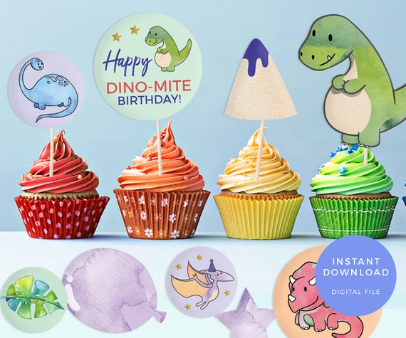 dinosaur party labels printable dinosaur cake toppers etsy