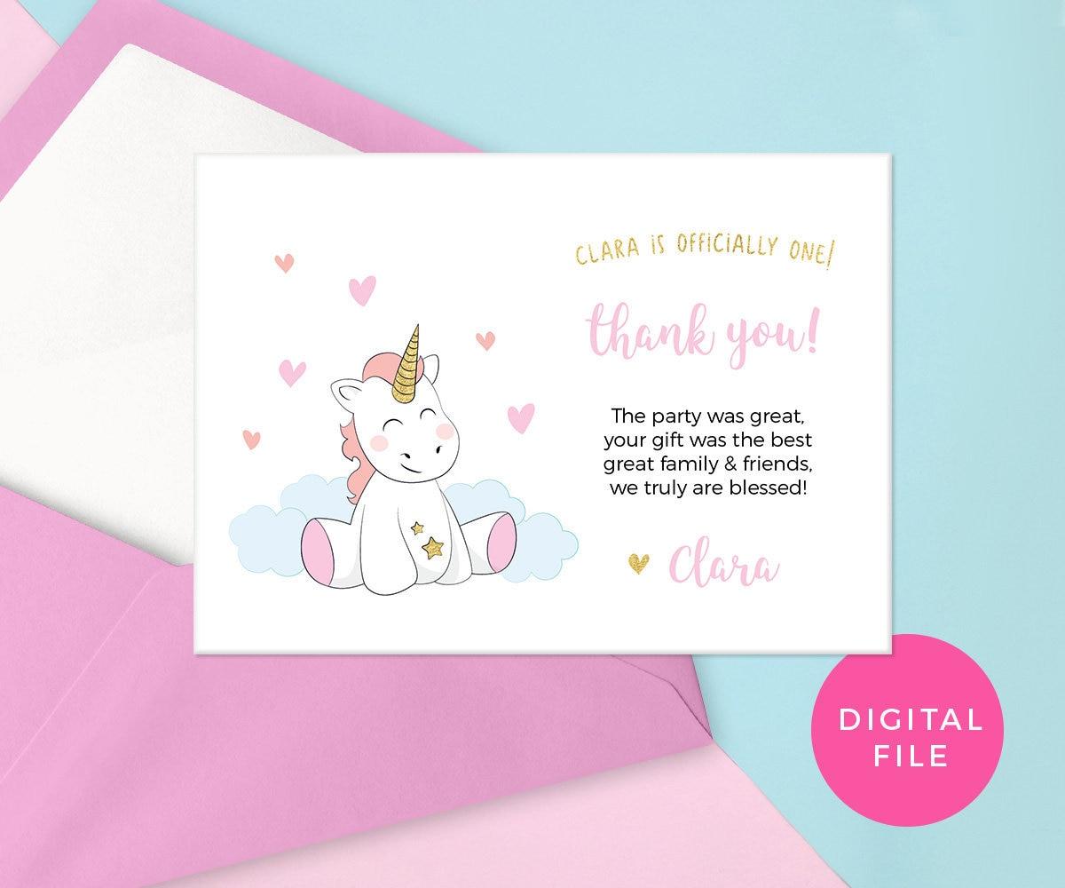 cute unicorn thank you card printable unicorn cards baby