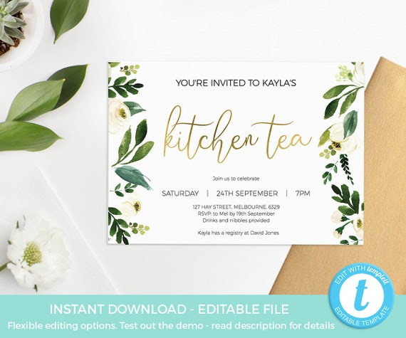 greenery kitchen tea invitation template kitchen tea invite etsy