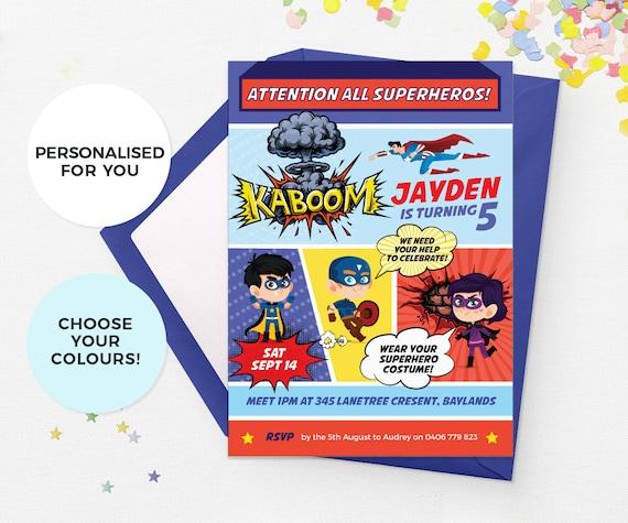 superhero birthday invitations printable superhero invitations etsy