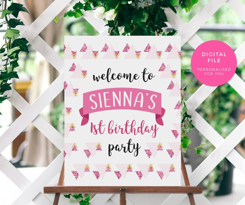Welcome Party Sign Printable 1st Birthday Decorations Etsy