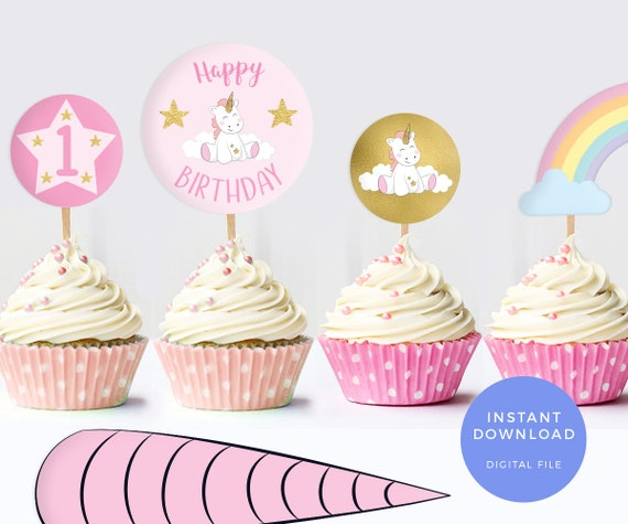 photo relating to Unicorn Cupcake Toppers Printable named Unicorn cake toppers, PRINTABLE unicorn labels, Unicorn horn, Unicorn celebration labels Unicorn bash decor, Printable cake topper rainbow superstars
