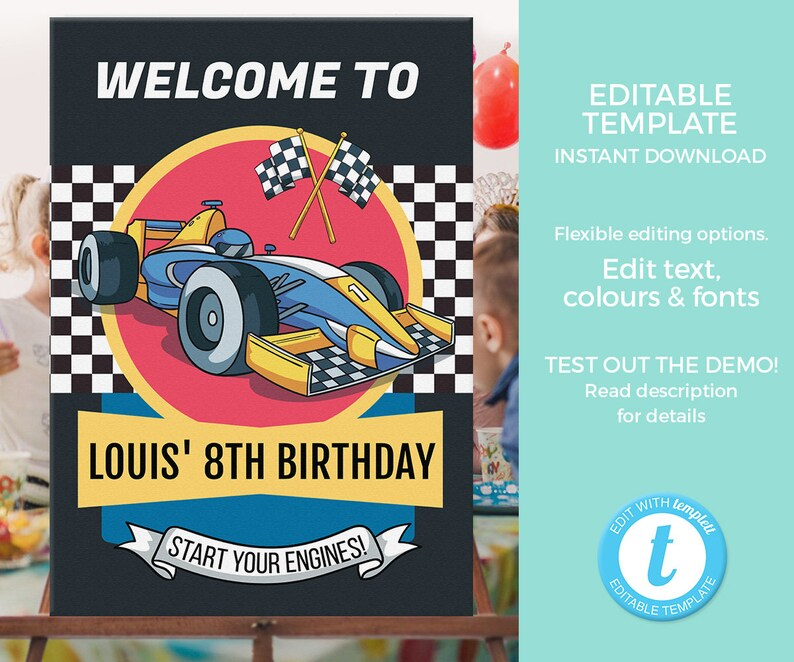 Racing car party welcome sign EDITABLE template, Cars birthday sign  PRINTABLE, Racing party poster, racing party sign, Boy 8th birthday