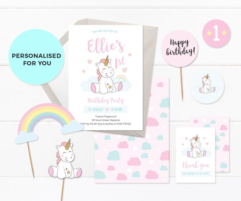 Unicorn 1st Birthday Invitations