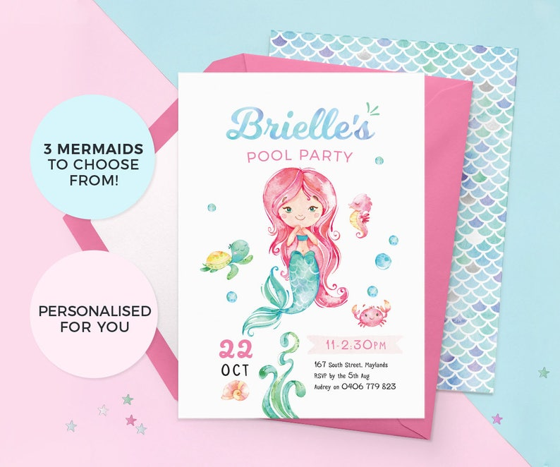 Mermaid Birthday Invitations Pool Party