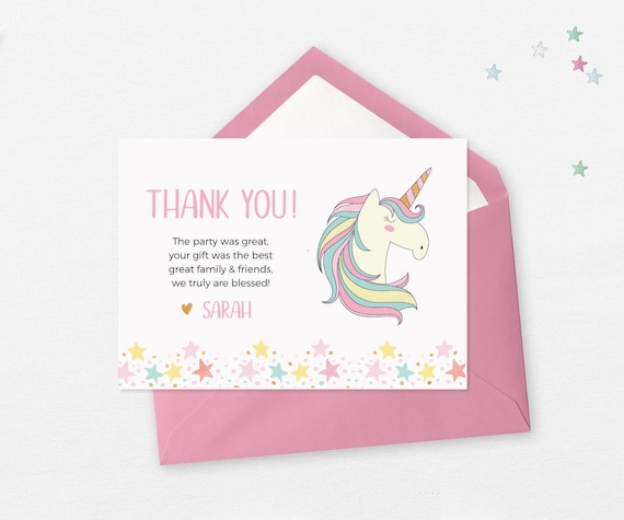 Unicorn Birthday Thank You Cards PRINTABLE Favors Card Thankyou Decorations