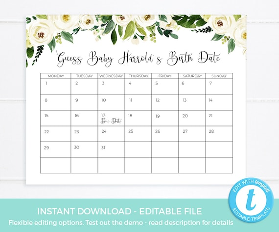 Guess Baby Due Date Calendar EDITABLE Template Guess Baby Etsy