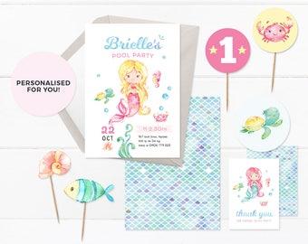 Mermaid invites set, PRINTABLE Mermaid invitations, Mermaid 1st birthday invitations, Mermaid Pool party invitations, First birthday invites