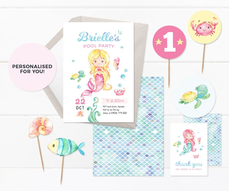 Mermaid Invites Set PRINTABLE Invitations