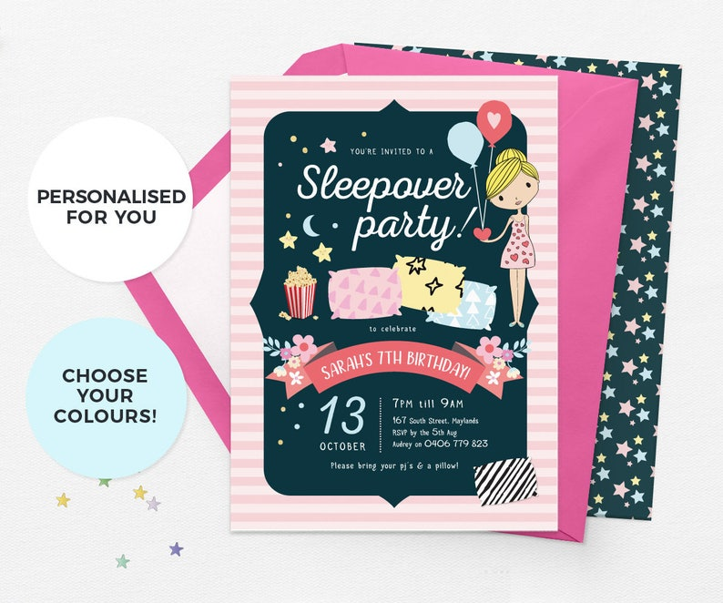 image about Printable Sleepover Invitations identified as Sleepover invitation printable, Snooze bash invitations, Sleep celebration invites, Sleepover birthday invites, Pajama get together invite pyjama