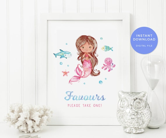 Mermaid Favours Sign 1st Birthday Pool Party