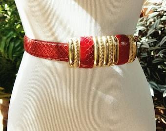 Vintage Red Snake Skin Belt, Snakeskin Belt, Vintage Snakeskin Belt, Vintage Red Belt, Red and Gold Belt, 80s Glam Belt, 80s Red Belt