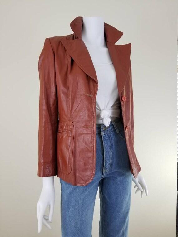 Vintage Leather Jacket, Brown Leather Jacket, 70s
