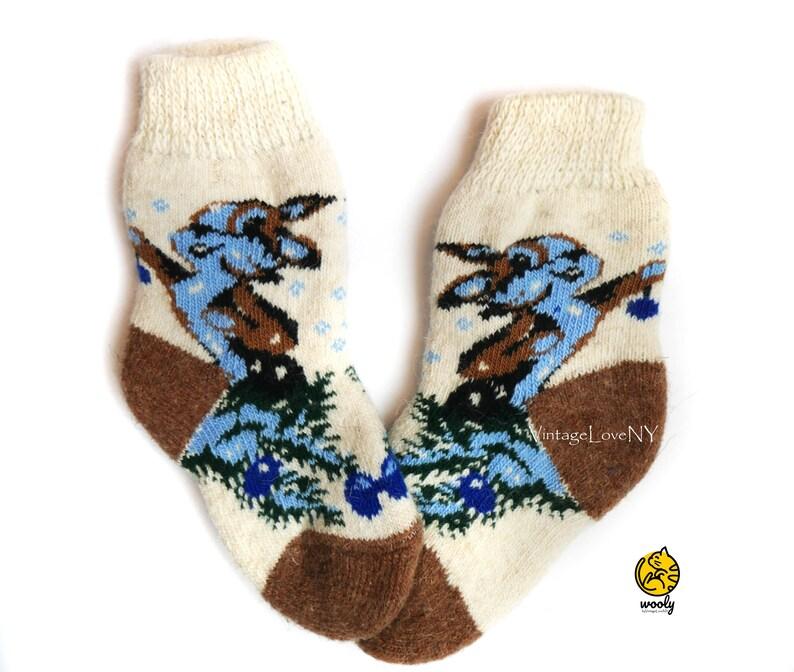Gift for Her Russian Socks Socks with Deer Warm Socks Winter Socks Soft Handmade Wool Knitted Socks Designer Socks Christmas Socks