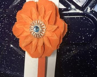 Orange leather headband-3-6 m