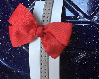 Red and tan leather headband- 3-6 T