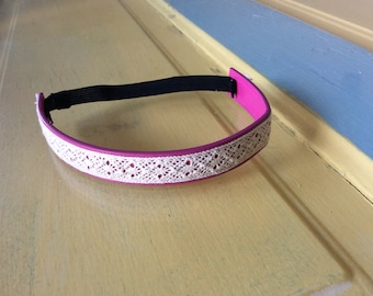 Pink and cream lace leather headband- 6-12 m