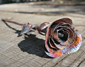 Copper Rose, Uncoated Rainbow Opening Rose Bud, Handmade Rose, Gift for Her, Anniversary Gift, Valentines Day Gift, Christmas Gift