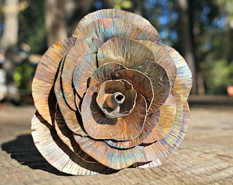 Uncoated Smoked Copper Rose, Fully Opened Rose, Metal Rose, Metal Art, Gift for Her, Anniversary Gift, Valentine's Day Gift, Christmas Gift