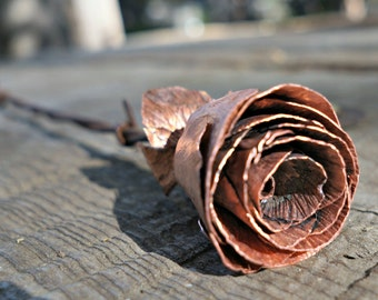 Uncoated Classic Copper Rose Bud, Handmade Rose, Metal Flower, Gift for Her, Anniversary Gift, Valentine's Day Gift, Christmas Gift