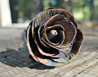 Coated Smoked Copper Rose, Opening Rose Bud, Metal Rose, Metal Art, Gift for Her, Anniversary Gift, Valentine's Day Gift, Christmas Gift