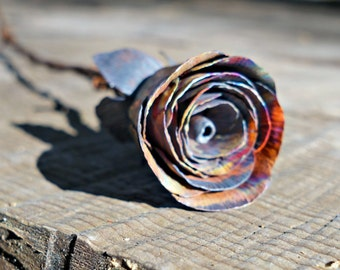 Coated Copper Rose Bud, Rainbow Color, Handmade Rose, Metal Flower, Gift for Her, Anniversary Gift, Valentine's Day Gift, Christmas Gift