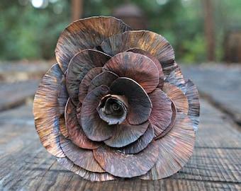 Coated Harvest Copper Rose, Fully Opened Rose, Handmade Rose, Metal Flower, Gift for Her, Anniversary Gift, Valentine's Day Gift, Christmas