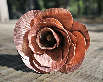 Uncoated Classic Copper Rose, Opening Rose Bud, Handmade Rose, Gift for Her, Anniversary Gift, Valentine's Day Gift, Christmas Gift