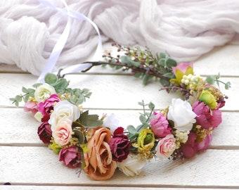 e089dc9dc Pink flower crown Wedding hair wreath Bridal headpiece Flower hair wreath  Wedding flower crown Wedding headpiece Flower halo Rustic crown