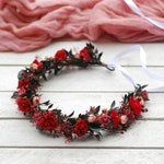 Red Black Blush flower crown  Bridal hair wreath Bridal flower headpiece Floral crown Woodland wedding Wedding hair crown Flower girl crown