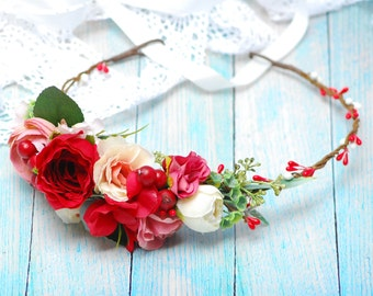 Floral accessories Wedding hair wreath Rustic Floral Hair Wedding Hair Halo Flower Crown Boho Wedding Bridal Hair Wreath Bridesmaid crown